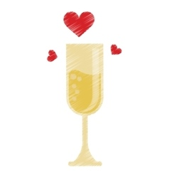 drawing cup glass champagne love celebration vector image vector image