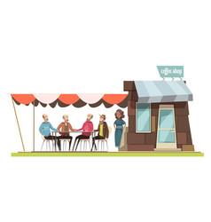 Family in coffee shop design composition vector