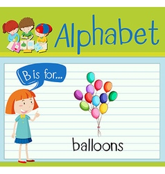 Flashcard letter b is for balloons vector