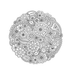 floral doodle round coloring page book for adults vector image