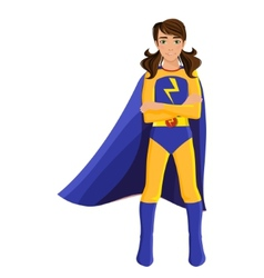 Girl in superhero costume vector image vector image