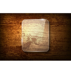 Glass frame on vintage wooden background vector