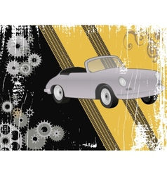 Grunge design with retro sports car vector image