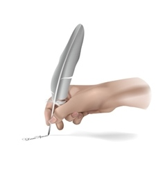 Hand With Writing feather vector image vector image
