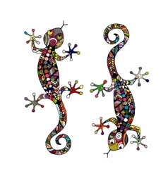 Lizard zenart for your design vector image