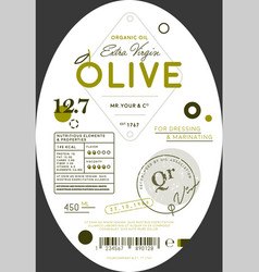 organic olive oil label template vector image vector image