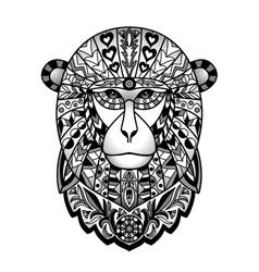 Ornamental black monkey vector