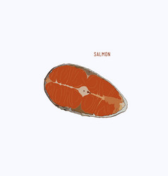 raw salmon slice for grilled steak sketch vector image