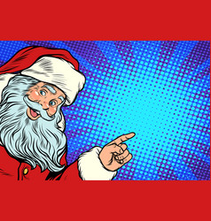 santa claus pointing to copy space vector image vector image