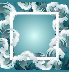 Sea blue water wave frame ocean border background vector
