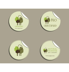 Set of green organic labels - stickers for natural vector image vector image