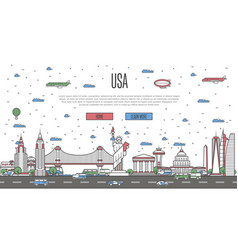 usa skyline with national famous landmarks vector image