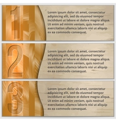 Wood textured enumerated banner set with curve vector