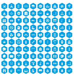 100 children activities icons set blue vector image