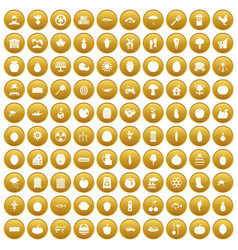 100 vitamins icons set gold vector