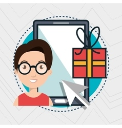 Woman smartphone shopping online vector