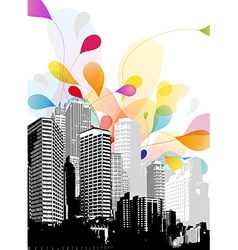 Abstract sky with cityscape vector image