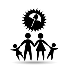 silhouette family vacation umbrella protection vector image