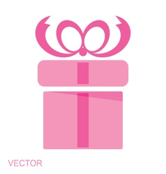 Pink gift box icon vector