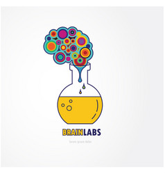 Brain lab logo template design with a round bulb vector