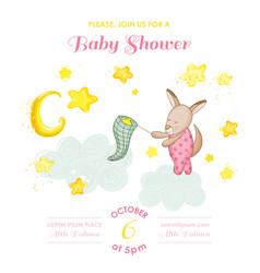 baby shower card baby kangaroo girl catching stars vector image