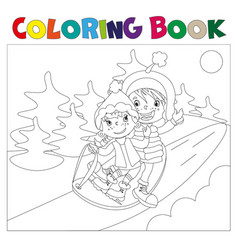 children on the sled coloring book vector image