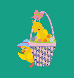 Chicken and basket with eggs vector