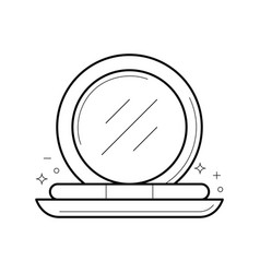 Compact powder with mirror icon vector