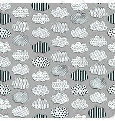 Cute black and white cloud pattern vector