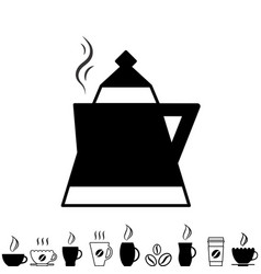 Teapot kettle trendy icon isolated on white vector