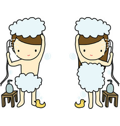 Showering boy and girl vector