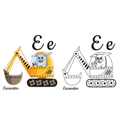 Excavator alphabet letter e coloring page vector