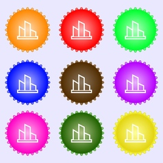 Diagram icon sign a set of nine different colored vector