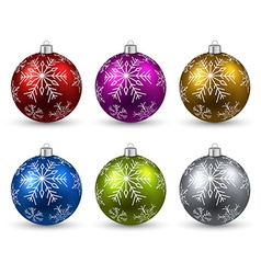 Set of realistic color christmas balls vector