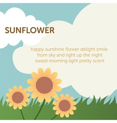 Cute sun flower on grass field within blue sky and vector