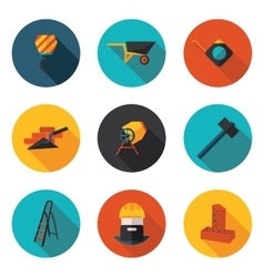 Flat icons construction walls vector