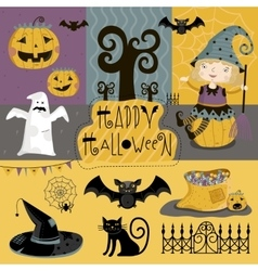 Set traditional elements of halloween vector