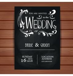 wedding invitation on blackboard background vector image