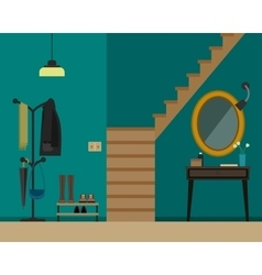 Hall interior with furniture vector
