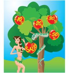 Eva and snake sale cartoon vector image