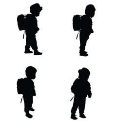 Child set black silhouette vector