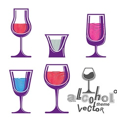 Colorful cartoon glass collection vector