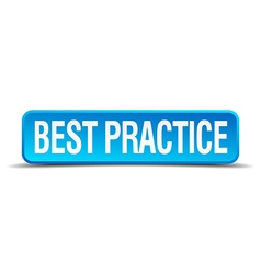 Best practice blue 3d realistic square isolated vector
