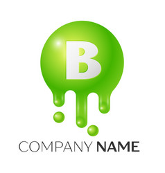 b letter splash green dots and bubbles letter vector image