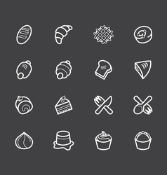 bakery popular white icon set on black background vector image vector image