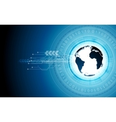 Blue tech background with globe and binary code vector image vector image