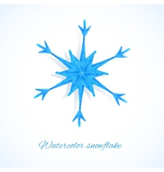 Blue watercolor snowflake vector