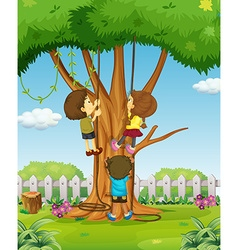 Boys and girl climbing up the tree vector