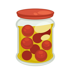 Canned cherry tomatoes in big jar isolated vector
