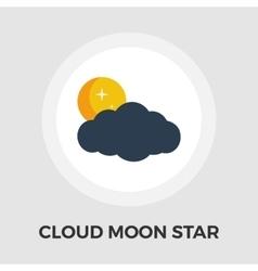 Cloud moon star flat icon vector